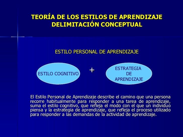 TEORÍA DE LOS ESTILOS DE APRENDIZAJE DELIMITACIÓN CONCEPTUAL <ul><li>ESTILO PERSONAL DE APRENDIZAJE </li></ul><ul><li>+ </...