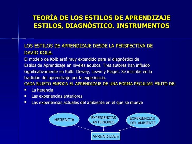 TEORÍA DE LOS ESTILOS DE APRENDIZAJE ESTILOS, DIAGNÓSTICO. INSTRUMENTOS <ul><li>LOS ESTILOS DE APRENDIZAJE DESDE LA PERSPE...