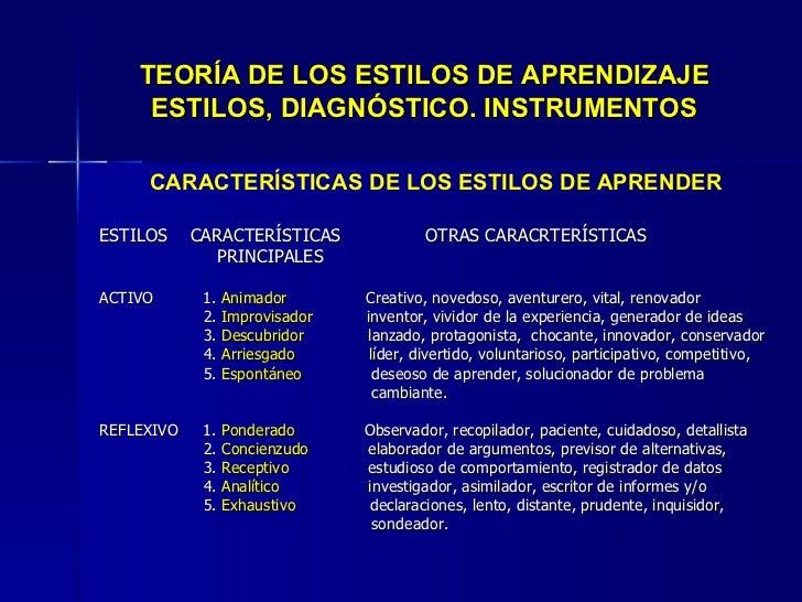 TEORÍA DE LOS ESTILOS DE APRENDIZAJE ESTILOS, DIAGNÓSTICO. INSTRUMENTOS <ul><li>CARACTERÍSTICAS DE LOS ESTILOS DE APRENDER...