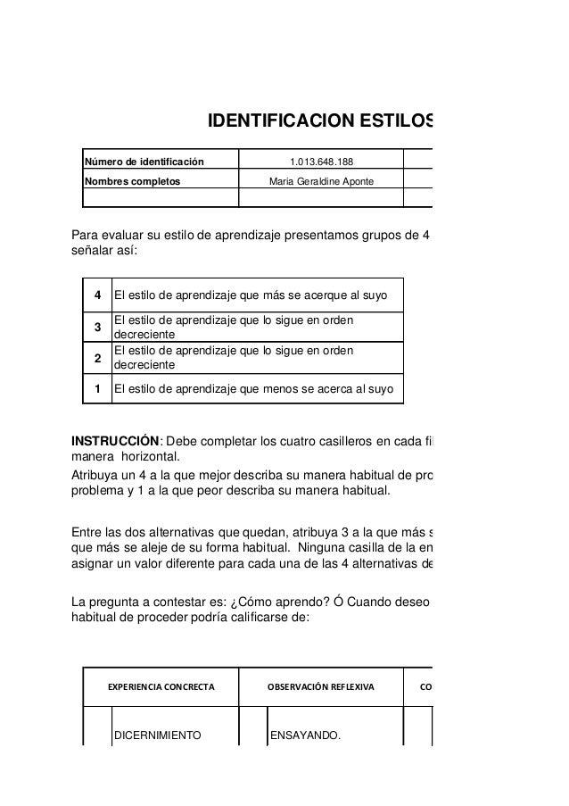 IDENTIFICACION ESTILOS DE APRENDIZA    Número de identificación                  1.013.648.188               Programa de f...