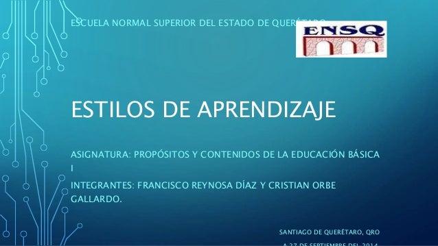 ESTILOS DE APRENDIZAJE ASIGNATURA: PROPÓSITOS Y CONTENIDOS DE LA EDUCACIÓN BÁSICA I INTEGRANTES: FRANCISCO REYNOSA DÍAZ Y ...