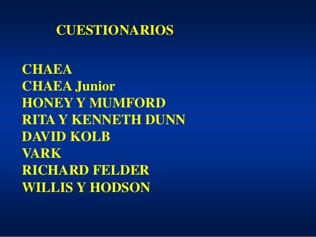 CUESTIONARIOS CHAEA CHAEA Junior HONEY Y MUMFORD RITA Y KENNETH DUNN DAVID KOLB VARK RICHARD FELDER WILLIS Y HODSON