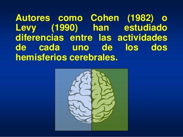 Autores como Cohen (1982) o Levy (1990) han estudiado diferencias entre las actividades de cada uno de los dos hemisferios...