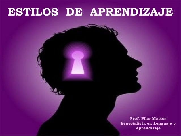 ESTILOS DE APRENDIZAJE Prof. Pilar Mattos Especialista en Lenguaje y Aprendizaje