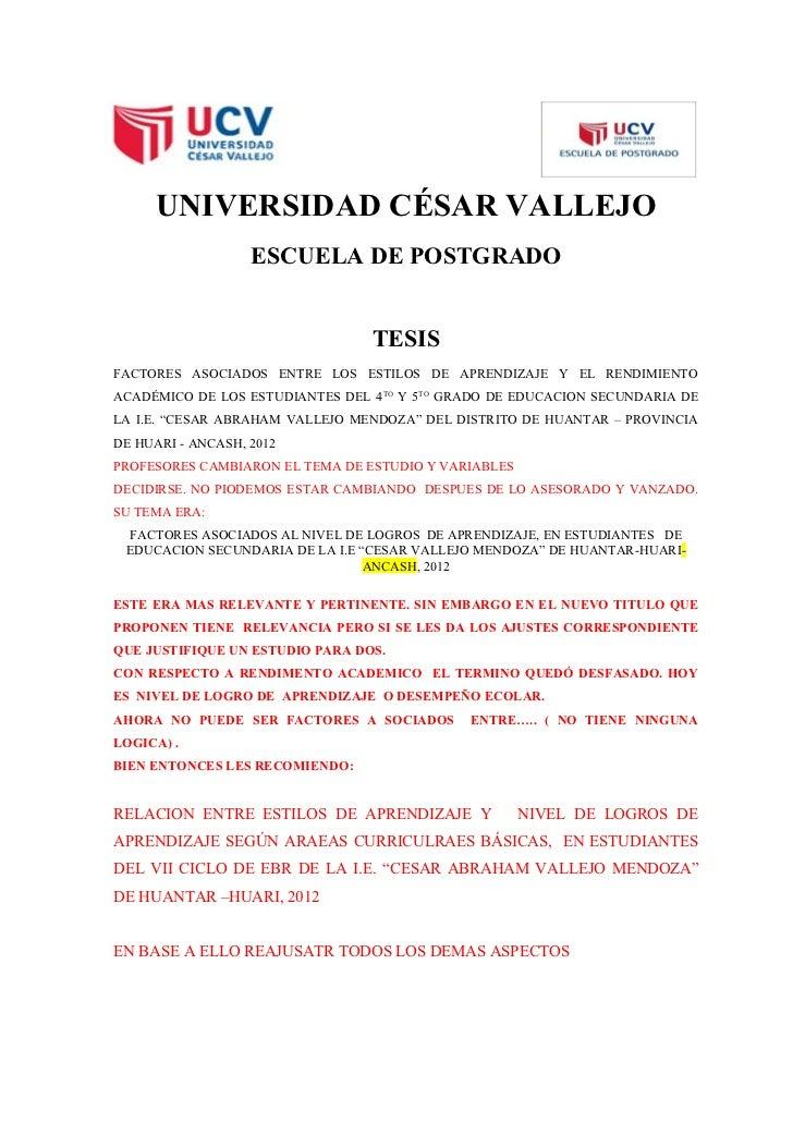 UNIVERSIDAD CÉSAR VALLEJO                   ESCUELA DE POSTGRADO                                 TESISFACTORES ASOCIADOS E...