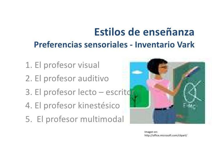 Estilos de enseñanza Preferencias sensoriales - Inventario Vark<br />1. El profesor visual<br />2. El profesor auditivo<br...