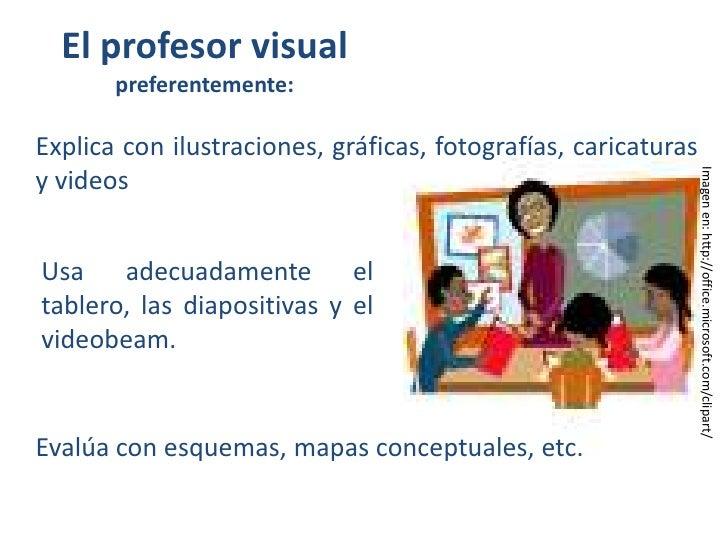 El profesor visual preferentemente:<br />Explica con ilustraciones, gráficas, fotografías, caricaturas y videos <br />Usa ...