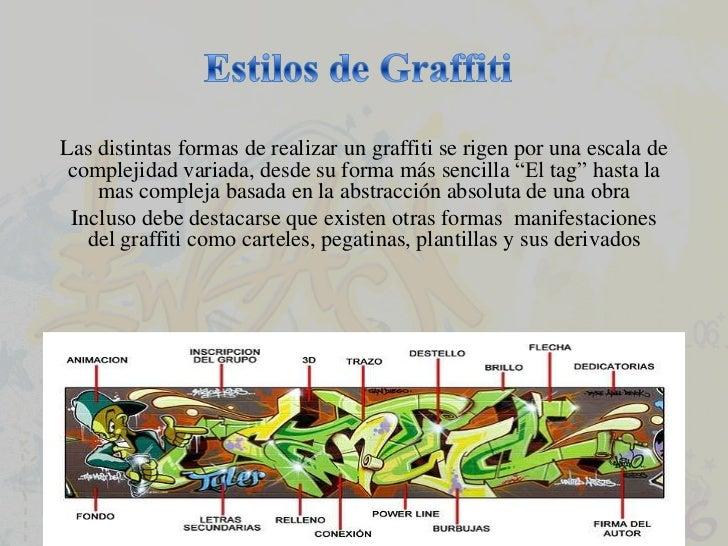 Estilos de Graffiti<br />Las distintas formas de realizar un graffiti se rigen por una escala de complejidad variada, desd...