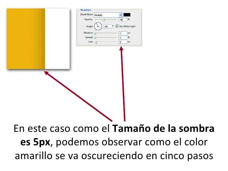 En este caso como el  Tamaño de la sombra es 5px , podemos observar como el color amarillo se va oscureciendo en cinco pasos