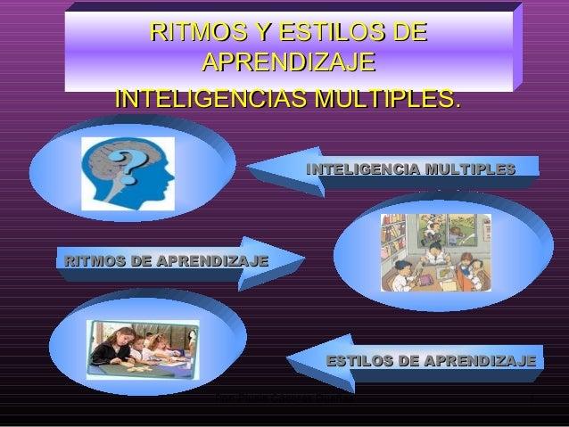 RITMOS Y ESTILOS DERITMOS Y ESTILOS DE APRENDIZAJEAPRENDIZAJE INTELIGENCIAS MULTIPLES.INTELIGENCIAS MULTIPLES. RITMOS DE A...