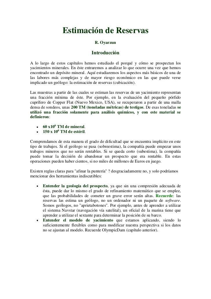 Estimación de Reservas                                     R. Oyarzun                                    IntroducciónA lo ...