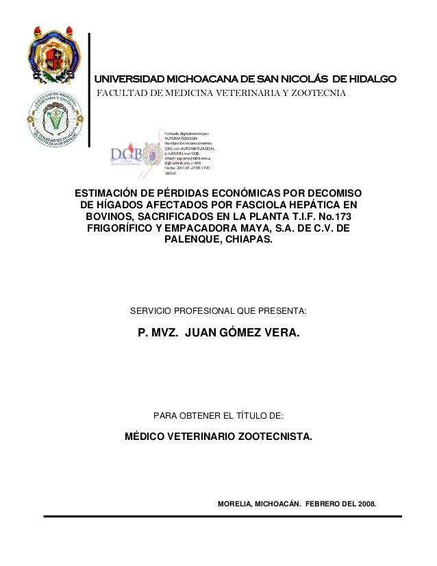 UNIVERSIDAD MICHOACANA DE SAN NICOLÁS DE HIDALGO FACULTAD DE MEDICINA VETERINARIA Y ZOOTECNIA ESTIMACIÓN DE PÉRDIDAS ECONÓ...