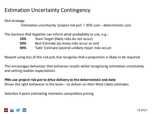 14 of 21 Estimation Uncertainty Contingency One strategy: Estimation uncertainty 'project risk pot' = 95% cost – determini...