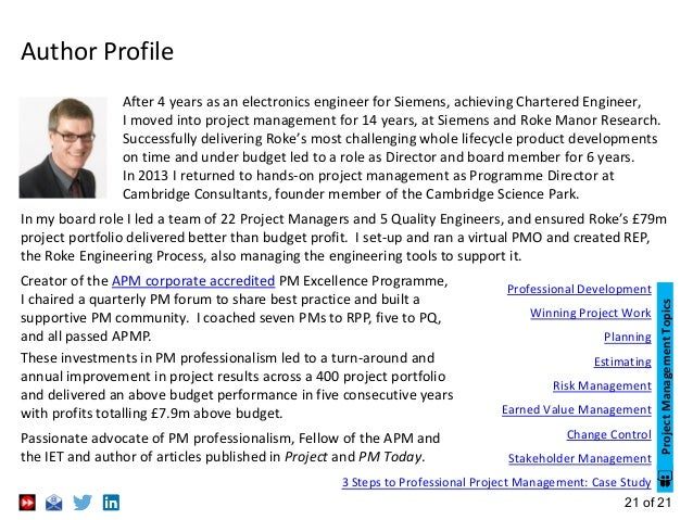 21 of 21 Author Profile In my board role I led a team of 22 Project Managers and 5 Quality Engineers, and ensured Roke's £...