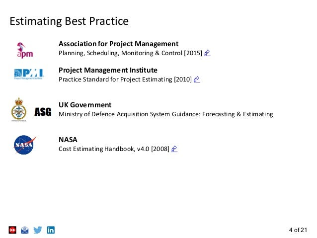 4 of 21 Estimating Best Practice Association for Project Management Planning, Scheduling, Monitoring & Control [2015]  Pr...