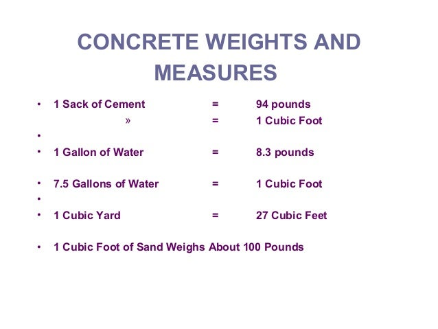 94 Lbs Bag Of Cement : Estimating concrete material cost course