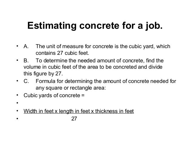 Estimating concrete materialcostcourse01421 64 cubic foot of gravel weighs about 100 pounds 3 ccuart Gallery