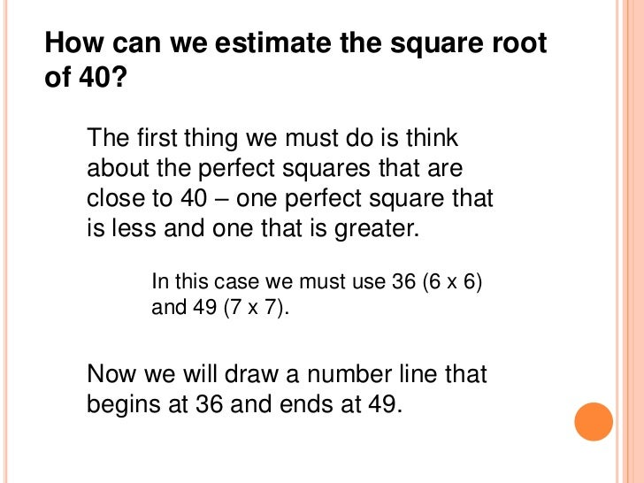 Estimating Square Roots (Number Line Method)