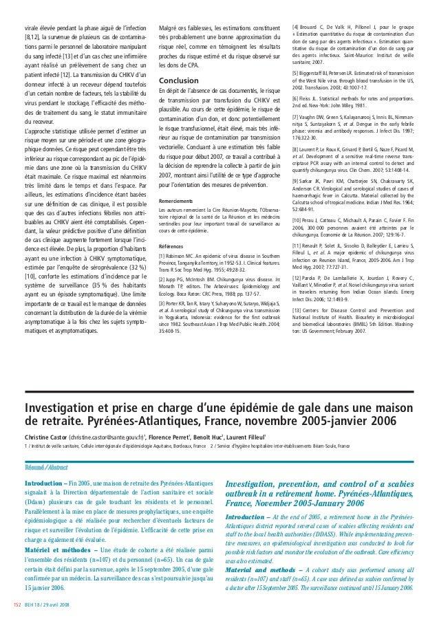 BEH 18 / 29 avril 2008152 Investigation et prise en charge d'une épidémie de gale dans une maison de retraite. Pyrénées-At...