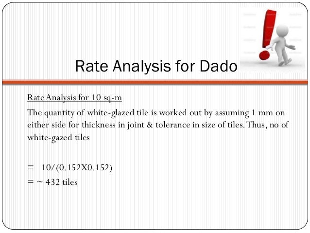 Rate Analysis for Dado Rate Analysis for 10 sq-m The quantity of white-glazed tile is worked out by assuming 1 mm on eithe...