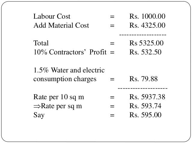 Labour Cost Add Material Cost  = =  Rs. 1000.00 Rs. 4325.00 ------------------Total = Rs 5325.00 10% Contractors' Profit =...