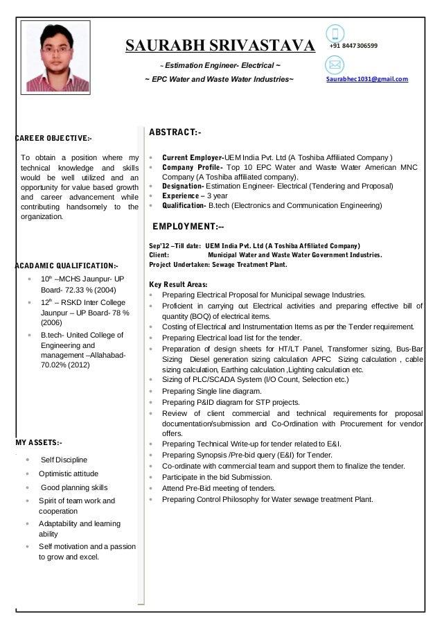 electrical estimator resume - Acur.lunamedia.co