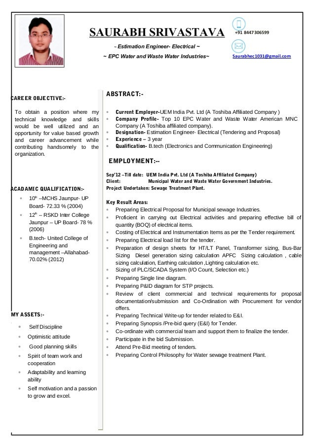 resume for estimation engineer electrical 3 year exp
