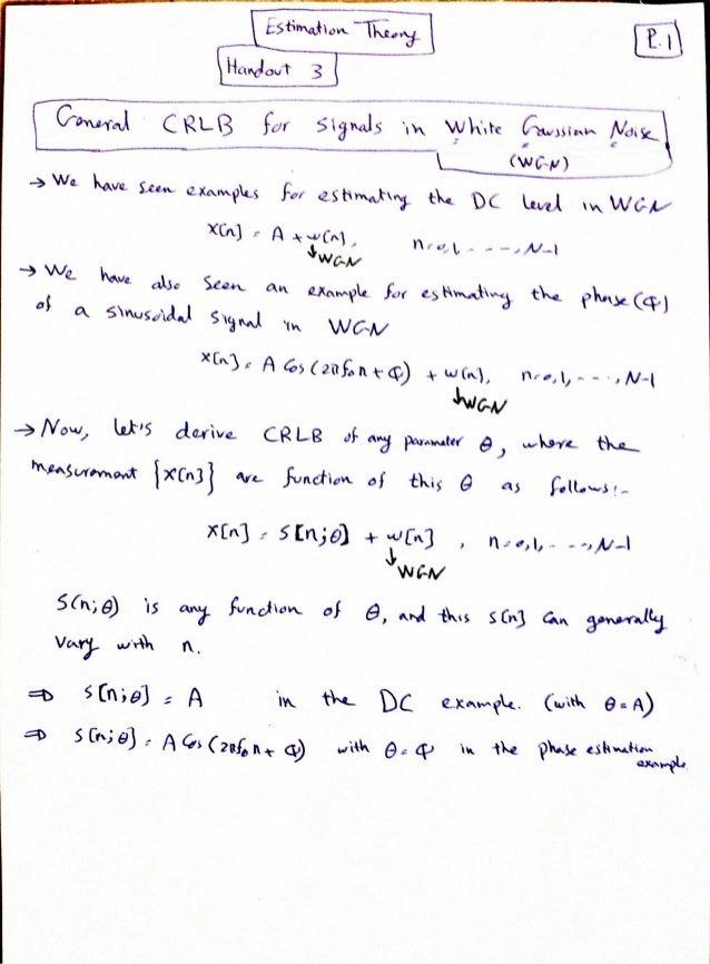 Estimation Theory Class (Handout 3)