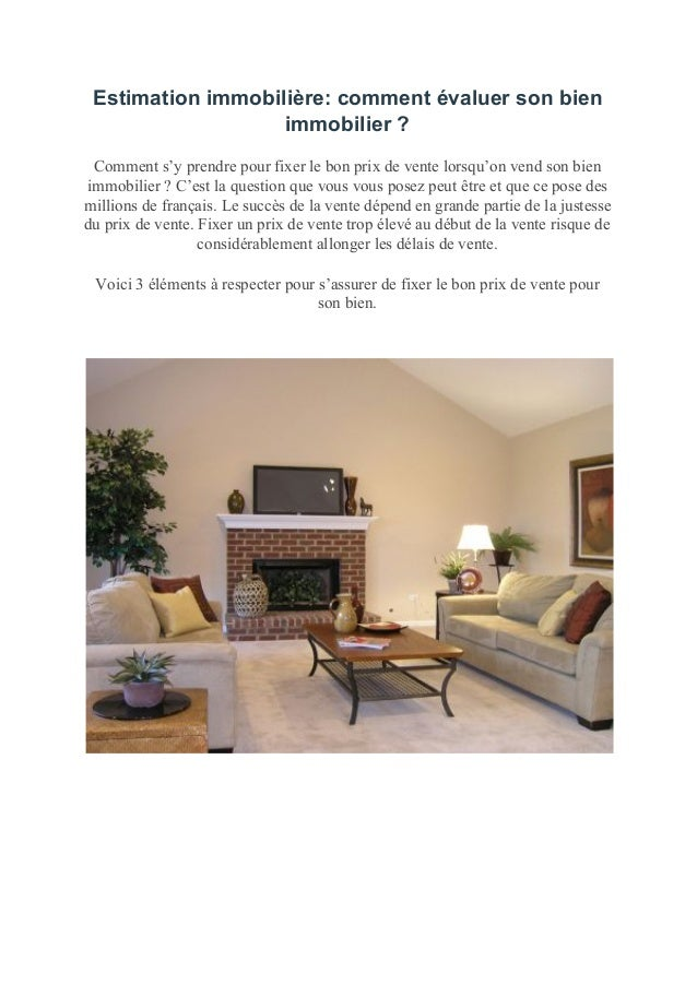 estimation immobili re comment valuer le prix de son. Black Bedroom Furniture Sets. Home Design Ideas