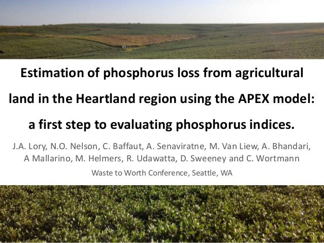 Estimation of phosphorus loss from agricultural land in the Heartland region using the APEX model: a first step to evaluat...