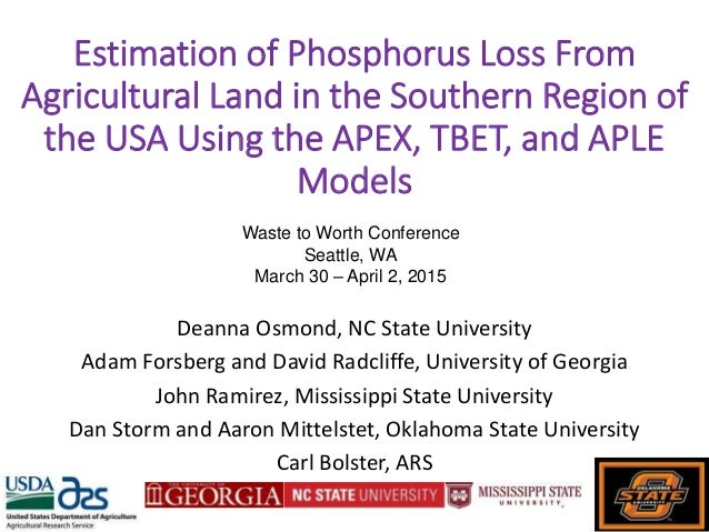 Estimation of Phosphorus Loss From Agricultural Land in the Southern Region of the USA Using the APEX, TBET, and APLE Mode...
