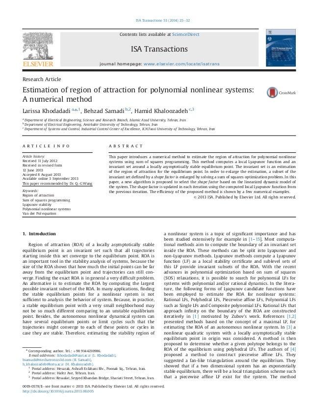 ResearchArticle  Estimation ofregionofattractionforpolynomialnonlinearsystems:  A numericalmethod  Larissa Khodadadi a,n,1...