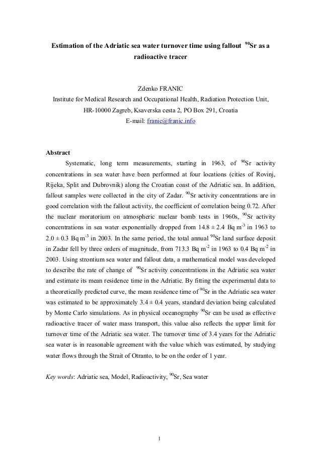 90  Estimation of the Adriatic sea water turnover time using fallout                     Sr as a                          ...