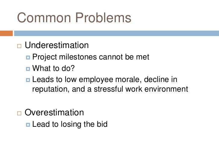 project estimation techniques An essay on the importance of cost estimation in project management project estimation is a process of forecasting or approximating the project parameters.