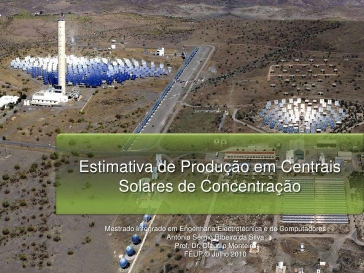 Estimativa De ProduçãO Cpv E Csp