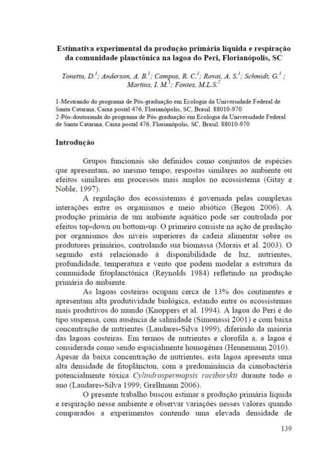 Estimativa experimental da produção primária líquida e respiração da comunidade planctônica na lagoa do peri