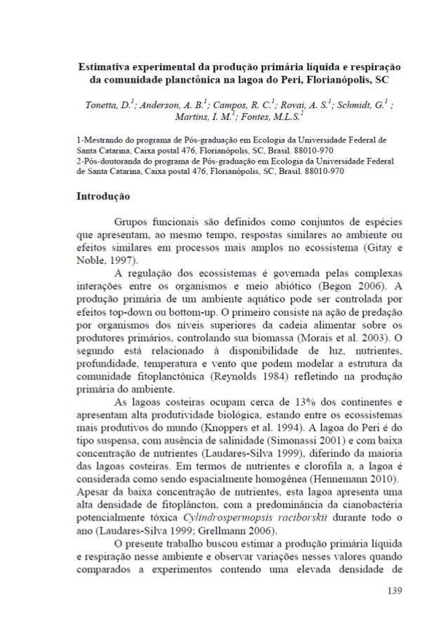 Estimativa experimental da produção primária líquida