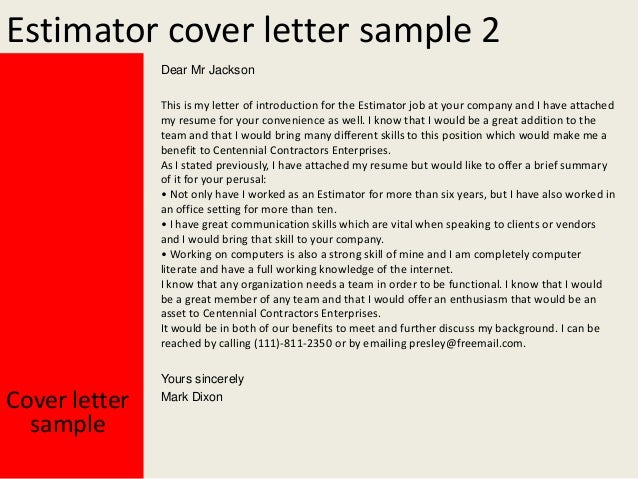 Charming Estimator Cover Letter