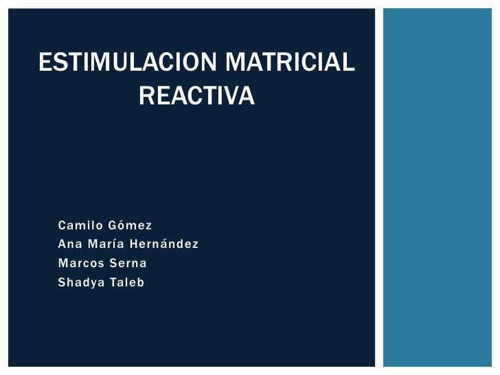 ESTIMULACION MATRICIAL       REACTIVA Camilo Gómez Ana María Hernández Marcos Serna Shadya Taleb