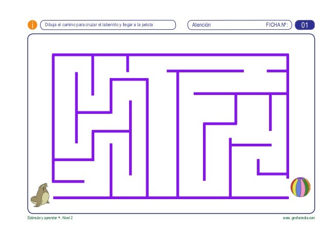 FICHA Nº:i Estimular y aprender +. Nivel 2 www. gesfomedia.com Dibuja el camino para cruzar el laberinto y llegar a la pel...