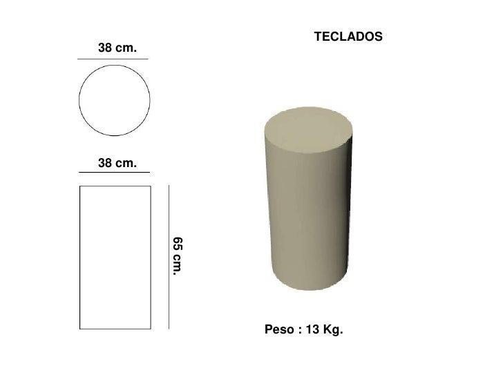 TECLADOS 38 cm.     38 cm.   65 cm.                       Peso : 13 Kg.