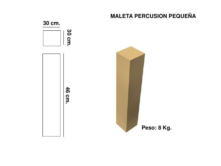 MALETA PERCUSION PEQUEÑA 30 cm.               30 cm.          46 cm.                                Peso: 8 Kg.