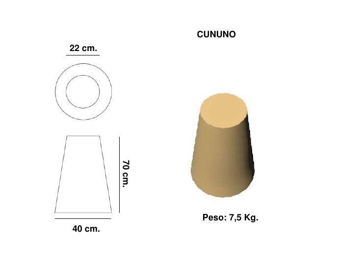 CUNUNO 22 cm.              70 cm.                       Peso: 7,5 Kg. 40 cm.