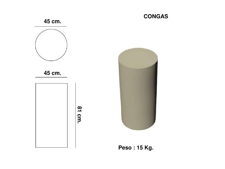 CONGAS 45 cm.     45 cm.   81 cm.                       Peso : 15 Kg.