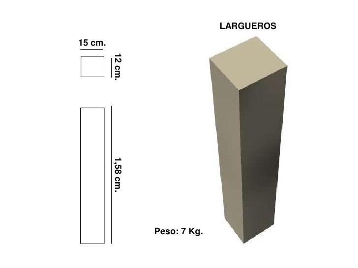 LARGUEROS 15 cm.              12 cm.          1,58 cm.                         Peso: 7 Kg.