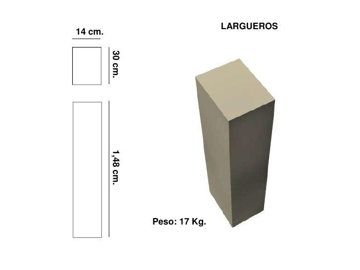 LARGUEROS 14 cm.              30 cm.          1,48 cm.                         Peso: 17 Kg.