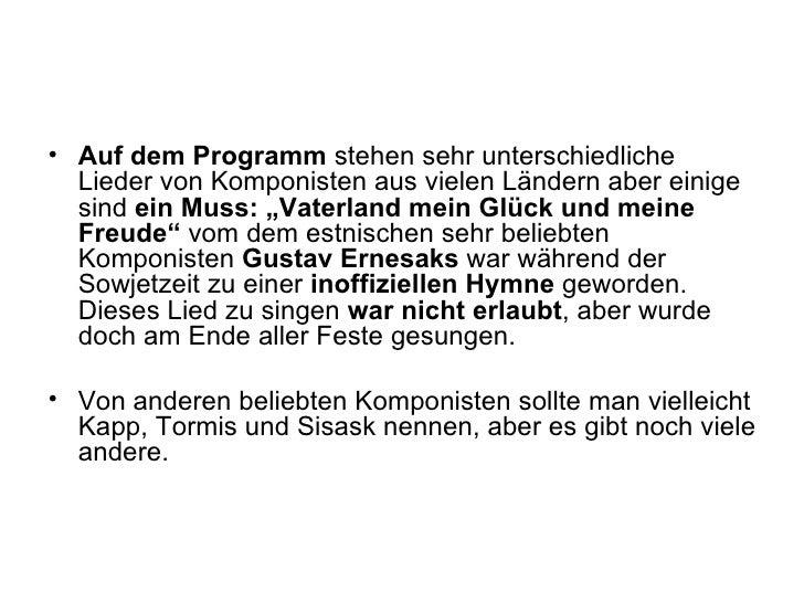 <ul><li>Auf dem Programm  stehen sehr unterschiedliche Lieder von Komponisten aus vielen Ländern aber einige sind  ein Mus...