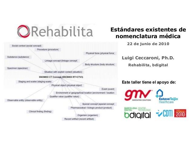 Estándares existentes de nomenclatura médica     22 de junio de 2010   Luigi Ceccaroni, Ph.D.      Rehabilita, bdigital   ...