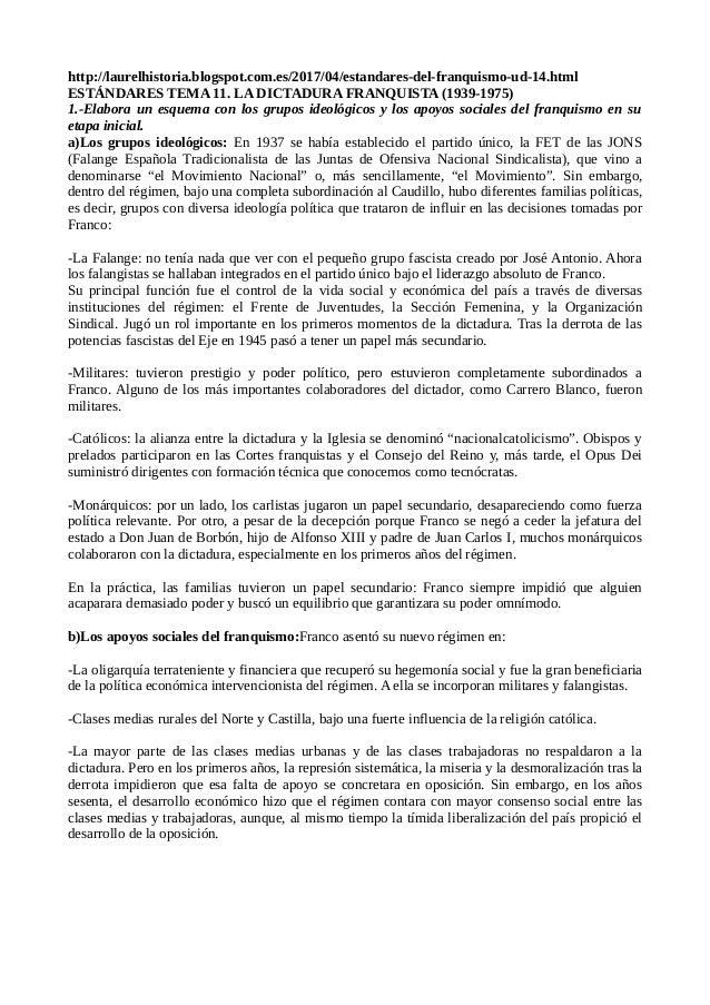 http://laurelhistoria.blogspot.com.es/2017/04/estandares-del-franquismo-ud-14.html ESTÁNDARES TEMA 11. LA DICTADURA FRANQU...