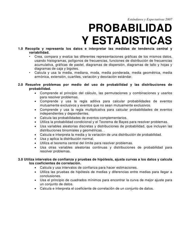 Estándares y Expectativas 2007                                           PROBABILIDAD                                     ...